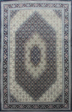 Indian Bidjar Black Rectangle 5x8 ft Wool and Silk Carpet 144930