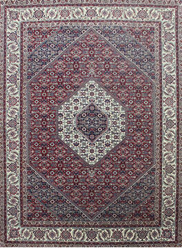 Indian Bidjar Red Rectangle 6x9 ft Wool and Silk Carpet 144933