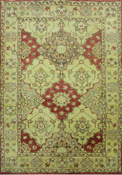 Indian Bakhtiar Multicolor Rectangle 4x6 ft Wool Carpet 144934