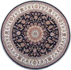 Indian Nain Blue Round 5 to 6 ft Wool Carpet 144958