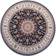 Indian Nain Blue Round 5 to 6 ft Wool Carpet 144959