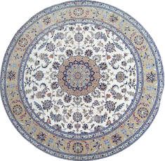 Indian Nain Beige Round 7 to 8 ft Wool Carpet 144960