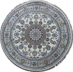Indian Nain Beige Round 5 to 6 ft Wool Carpet 144961