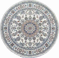Indian Nain Beige Round 7 to 8 ft Wool Carpet 144962