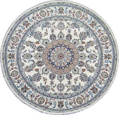 Indian Nain Beige Round 5 to 6 ft Wool Carpet 144963