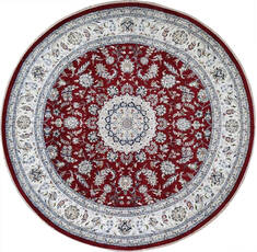 Indian Nain Red Round 5 to 6 ft Wool Carpet 144964