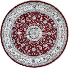 Indian Nain Red Round 5 to 6 ft Wool Carpet 144965