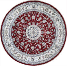Indian Nain Red Round 7 to 8 ft Wool Carpet 144966