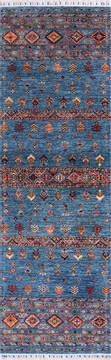 "Chobi Blue Runner Hand Knotted 2'7"" X 8'3""  Area Rug 700-144977"