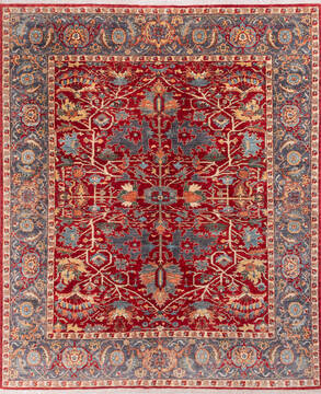 "Chobi Red Hand Knotted 8'1"" X 9'8""  Area Rug 700-144996"