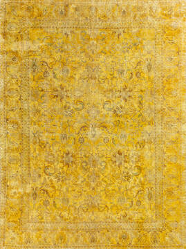 "Overdyed Yellow Hand Knotted 8'0"" X 10'6""  Area Rug 700-145004"