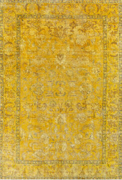 "Overdyed Yellow Hand Knotted 6'4"" X 9'4""  Area Rug 700-145005"