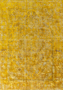 "Overdyed Yellow Hand Knotted 6'6"" X 9'2""  Area Rug 700-145006"