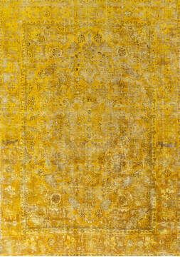 "Overdyed Yellow Hand Knotted 6'6"" X 9'2""  Area Rug 700-145007"