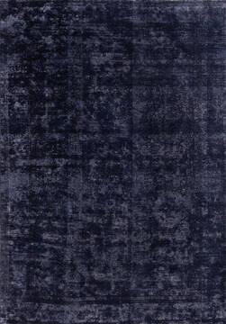 "Overdyed Black Hand Knotted 6'6"" X 9'3""  Area Rug 700-145012"