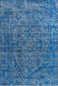 "Overdyed Blue Hand Knotted 6'4"" X 9'5""  Area Rug 700-145013"