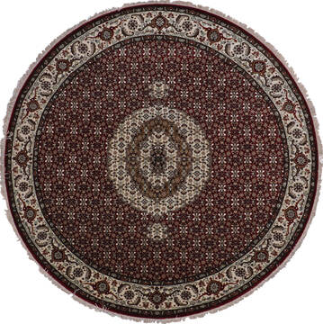 Indian Mahi Red Round 7 to 8 ft Wool and Viscose Carpet 145049