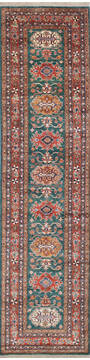 "Kazak Green Runner Hand Knotted 2'7"" X 10'4""  Area Rug 700-145055"