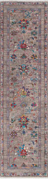"Chobi Grey Runner Hand Knotted 2'8"" X 9'8""  Area Rug 700-145101"