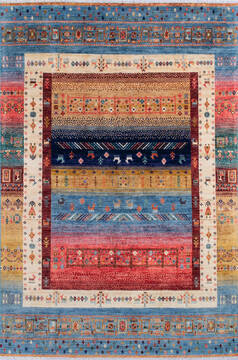 Afghan Chobi Multicolor Rectangle 5x8 ft Wool Carpet 145107