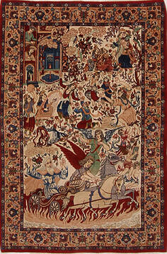 Persian Isfahan Red Rectangle 3x5 ft Wool and Silk Carpet 145125