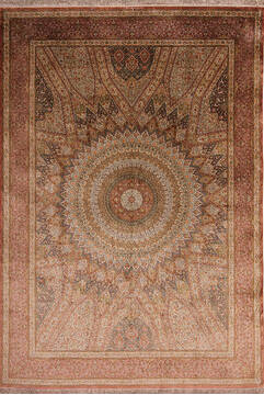 "Qum Red Hand Knotted 11'4"" X 8'0""  Area Rug 254-145126"