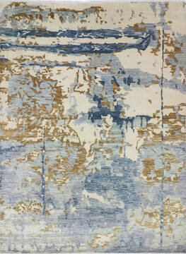 "Modern-Contemporary Multicolor Hand Knotted 8'10"" X 12'4""  Area Rug 904-145141"