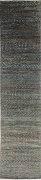 "Modern-Contemporary Multicolor Runner Hand Knotted 3'0"" X 13'10""  Area Rug 904-145144"