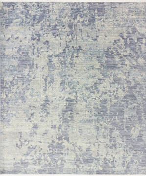 "Modern-Contemporary Grey Hand Knotted 8'1"" X 9'10""  Area Rug 904-145151"