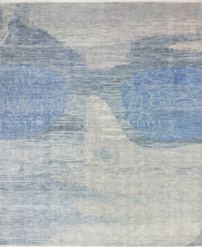 "Modern-Contemporary Blue Hand Knotted 7'11"" X 9'10""  Area Rug 904-145163"