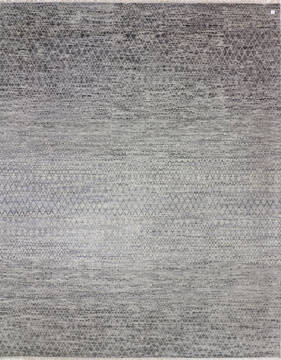 "Modern-Contemporary Grey Hand Knotted 9'1"" X 12'4""  Area Rug 904-145166"