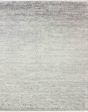 "Modern-Contemporary Grey Hand Knotted 7'10"" X 10'3""  Area Rug 904-145170"