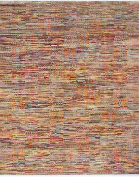 "Modern-Contemporary Multicolor Hand Knotted 10'2"" X 14'2""  Area Rug 904-145174"