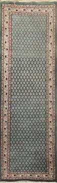 "Persian Green Runner Hand Knotted 2'6"" X 10'0""  Area Rug 902-145176"