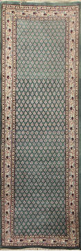 "Persian Green Runner Hand Knotted 2'6"" X 12'0""  Area Rug 902-145177"