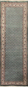 "Persian Green Runner Hand Knotted 2'6"" X 16'0""  Area Rug 902-145178"
