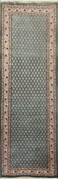 "Persian Green Runner Hand Knotted 2'6"" X 18'0""  Area Rug 902-145180"