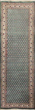 "Persian Green Runner Hand Knotted 2'6"" X 20'0""  Area Rug 902-145181"