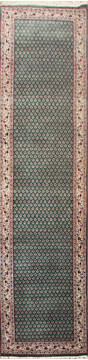 "Persian Green Runner Hand Knotted 2'6"" X 10'0""  Area Rug 902-145186"