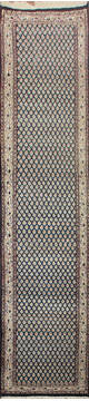 "Persian Blue Runner Hand Knotted 2'6"" X 12'0""  Area Rug 902-145188"