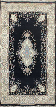 Indian Kashan Black Rectangle 3x5 ft Wool Carpet 145200