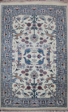 Indian Kashan Beige Rectangle 3x5 ft Wool Carpet 145201