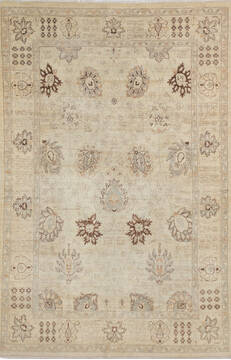 Afghan Chobi Beige Rectangle 7x10 ft Wool Carpet 145229