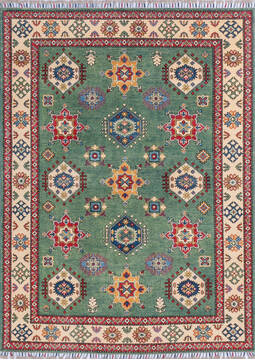"Kazak Green Hand Knotted 4'10"" X 6'7""  Area Rug 700-145245"