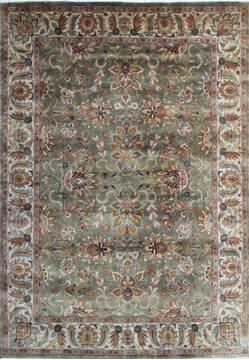 Indian Kashan Green Rectangle 9x12 ft Wool Carpet 145252