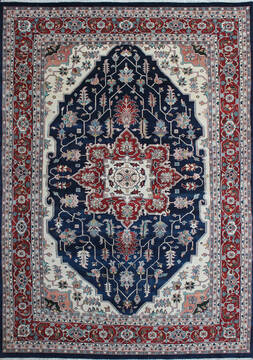 Indian Kashan Multicolor Rectangle 9x13 ft Wool Carpet 145253