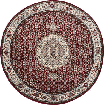 Indian Mahi Red Round 5 to 6 ft Wool Carpet 145257