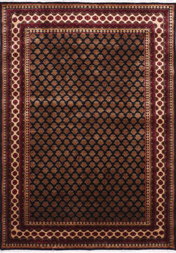 Indian Mahi Black Rectangle 5x7 ft Silk Carpet 145273