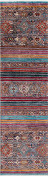 "Chobi Multicolor Runner Hand Knotted 2'9"" X 10'0""  Area Rug 700-145291"
