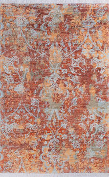 "Modern Orange Hand Knotted 5'3"" X 8'1""  Area Rug 700-145345"